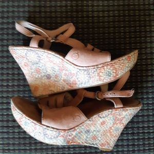 Born Wedged Leather Sandals